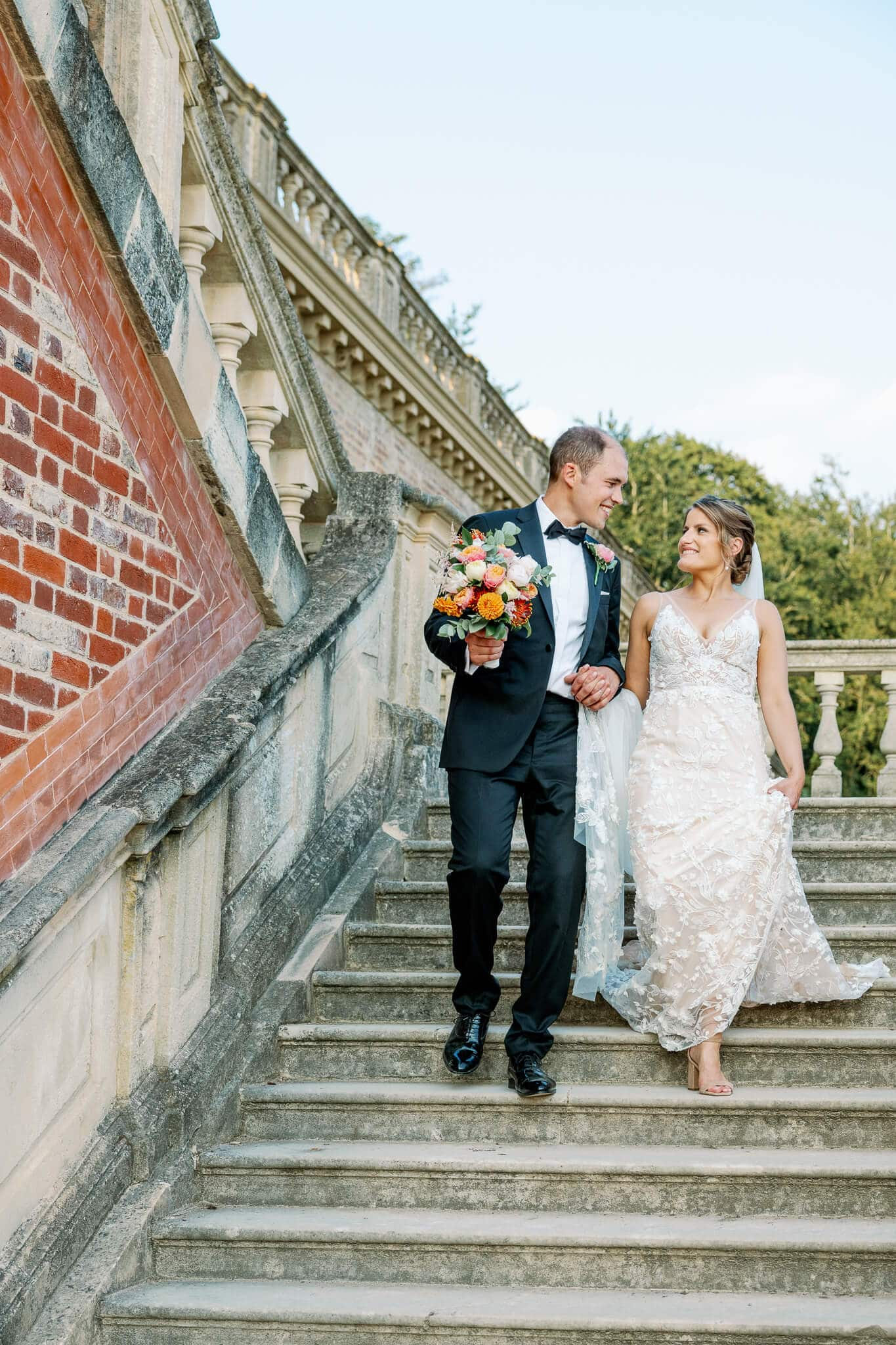 couple portrait on stairs with berkshire wedding photographer