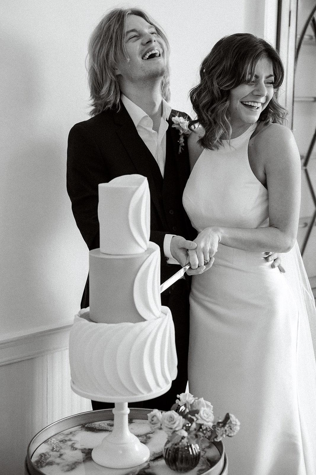 Lewes Wedding venue reception of cake cutting
