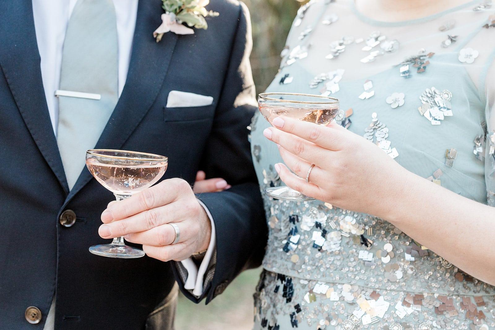 Pink Champagne celebration drink Lewes Wedding Photo